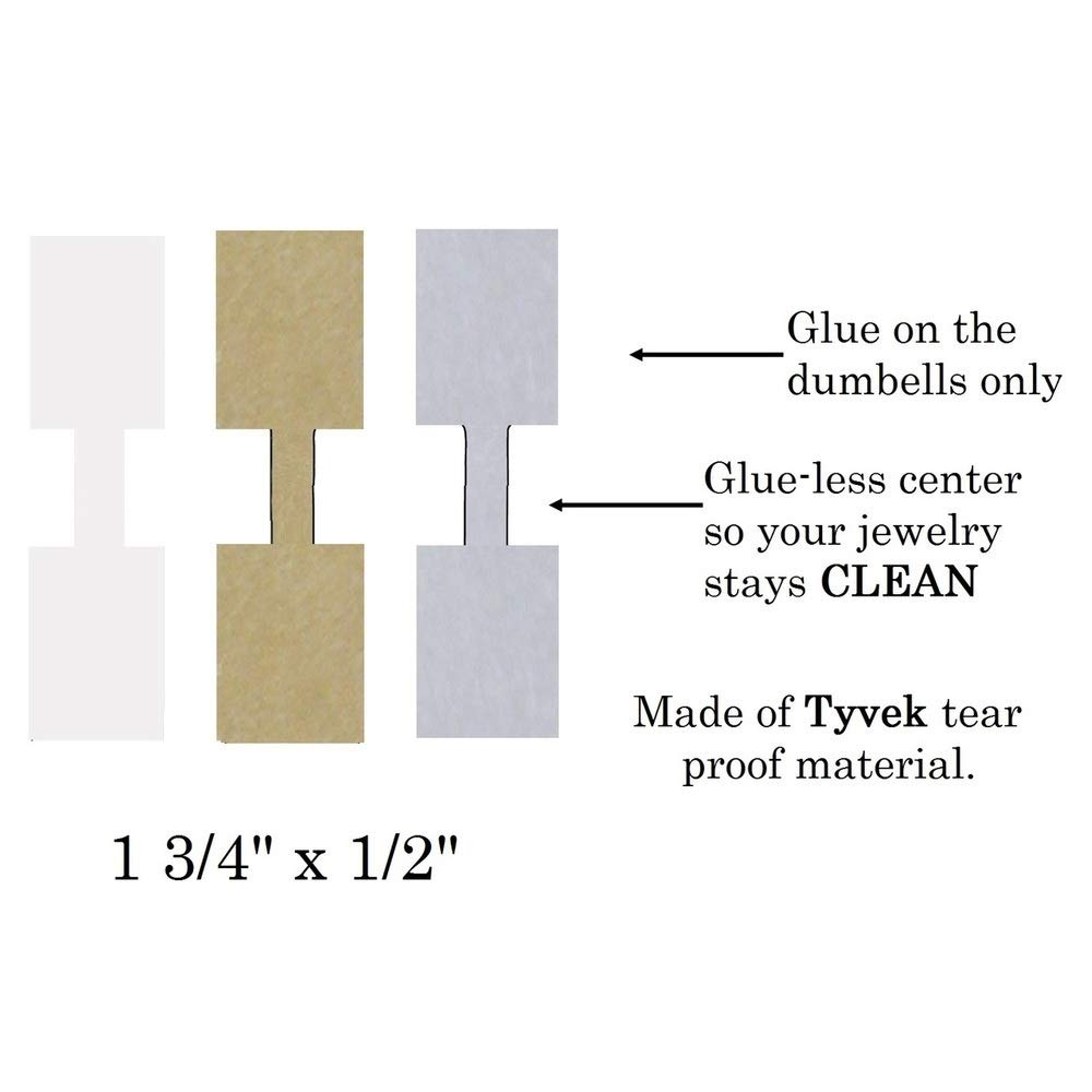 White 1000 Pcs Price Tags Stickers 12mm Barbell Jewelry Display Rectangle Shape