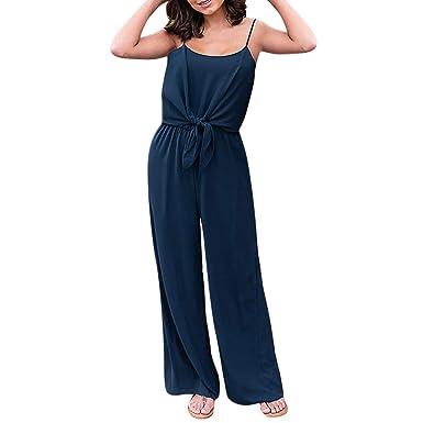 MXJEEIO Petos de Pantalones Largo para Mujer Moda para Mujer Nudo ...