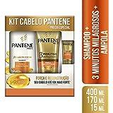 Kit Shampoo Pantene Força e Reconstrução 400ml +Condicionador 3 Minutos Milagrosos + Ampola 15ml
