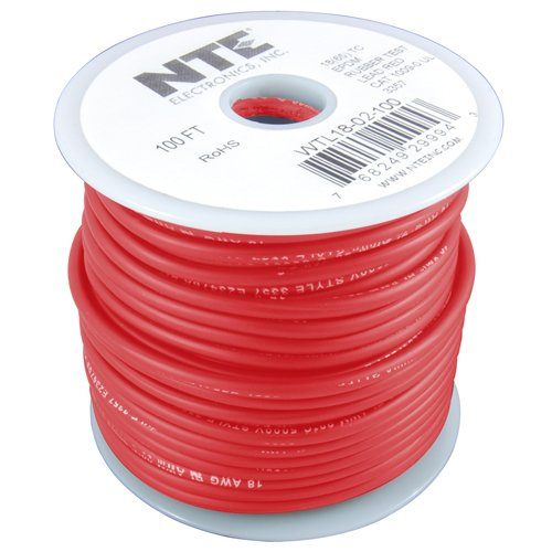 NTE Electronics WTL18-02-50 Series WTL EPDM Rubber Test Lead Wire, Type 18 Gauge, Stranded, 50' Length, 5000V, ()