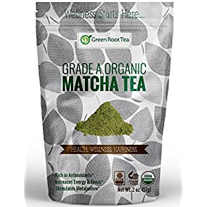 Matcha Green Tea Powder - 100% Organic Grade A Authentic Bulk Green Tea - Perfect for Baking, Cooking, Lattes and Smoothies - Green Root Tea (2 OZ.)