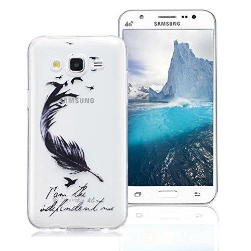 Funda Samsung Galaxy J5 2015 SM-J500F, AllDo Funda TPU Silicona para Samsung Galaxy J5 2015 SM-J500F Funda Transparente Claro Carcasa Flexible Suave TPU Silicone Case Soft Cover Carcasa Protectora Fun Pluma Foladora
