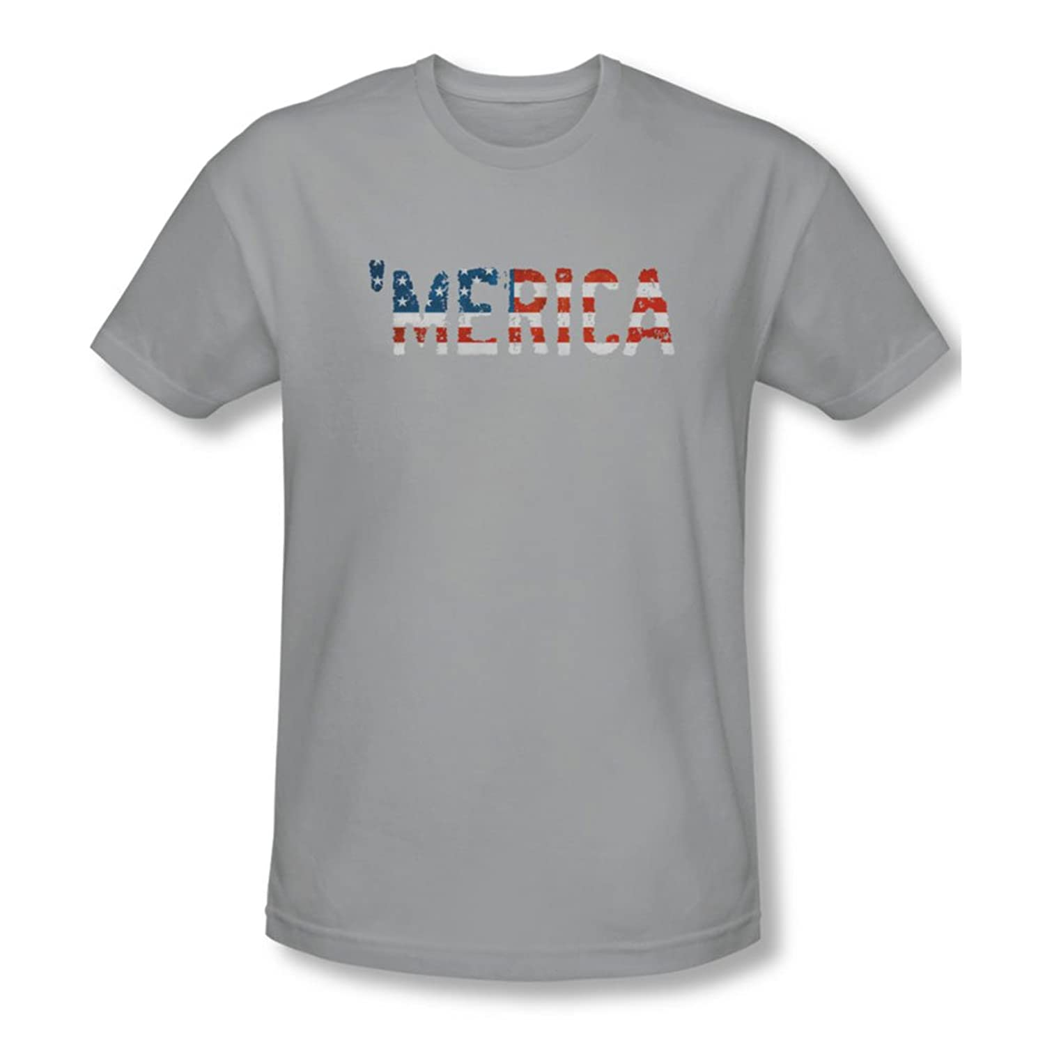 Merica - Mens Slim Fit T-Shirt In Silver, X-Large, Silver