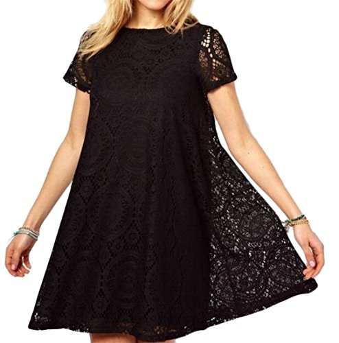 Black Pleated Casual Crewneck Dress Sun A Fit Beach Womens Slim Cromoncent Line RTqFZF