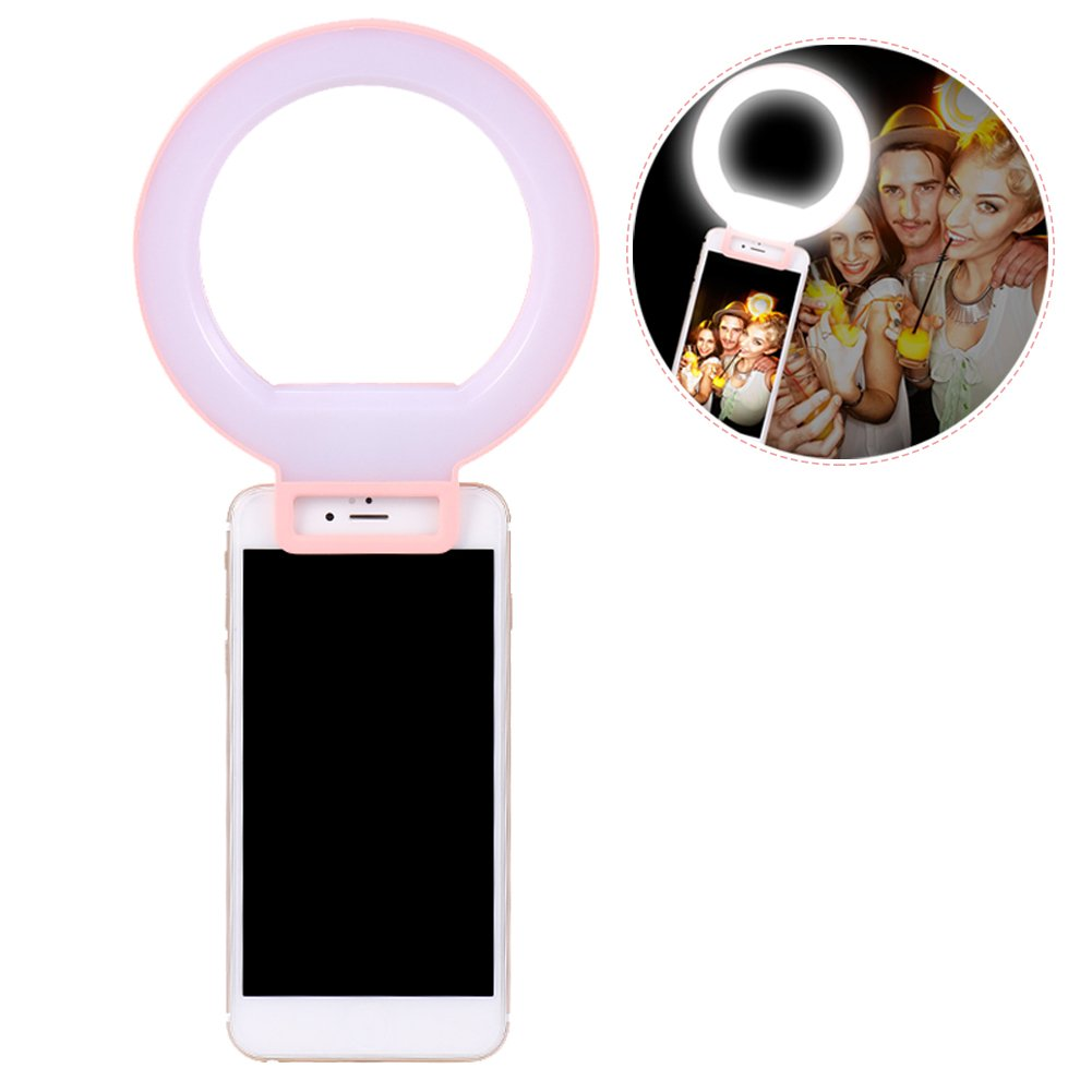 LED Selfie Ring Light, Rechargeable Supplementary Lighting Night or Darkness Selfie Enhancing for Photography with iPhones and Android Smart Phones