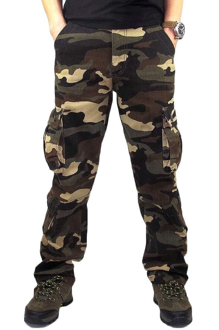 Alion Men Fall Multi-Pockets Work Pants Outdoor Cargo Pants