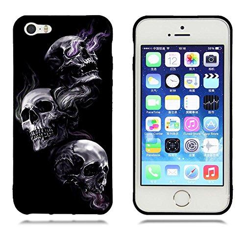 Funda iPhone 5 5s, FUBAODA [Flor rosa] caja del teléfono elegancia contemporánea que la manera 3D de diseño creativo de cuerpo completo protector Diseño Mate TPU cubierta del caucho de silicona suave  pic: 09