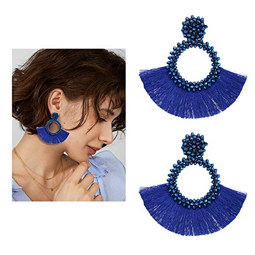 Seed Bead Earrings - Handmade Large Round Drop Dangle Earrings Fan Tassel Fringe Drop Dangle Earrings, Boho Glass Bead Statement Earrings Jewelry Gift For Women Girls