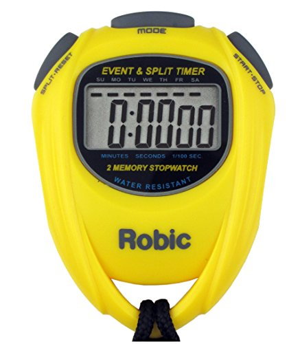 Robic SC-539 Water Resistant Event & Split Time Memory Stopwatch, Yellow