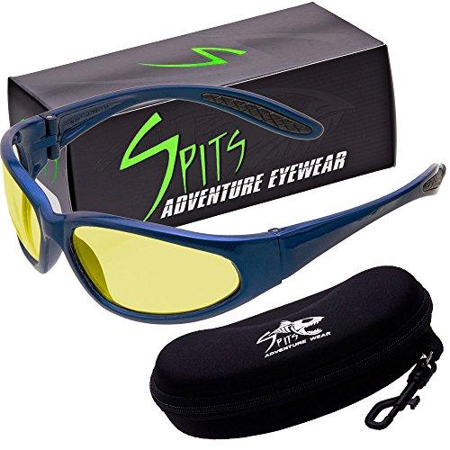 - Hercules Photochromic Light Adjusting Safety Glasses - Blue Frame - Photochromic Yellow Lenses