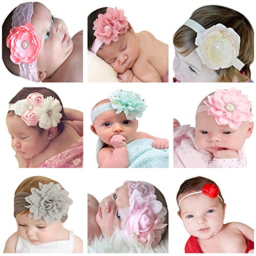 himipopo 9Packs Baby Headbands Girl's Hairbands for Newborn?Toddler and Childrens