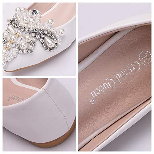 On Ager Boda Slip De 01C Wedding Womens Nupciales EU38 Pumps Shoes Bridesmaid Ladies Ele White Flower Rhinestones La dzwq7Sd