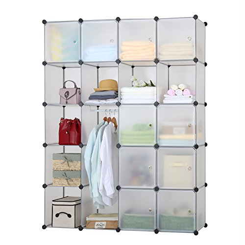 Finnhomy DIY 20 Cube Organizer Storage Cabinet Bookcase Storage Organizer Shoes Storage Modular Storage Cabinet Wardrobe Closet Organizer System for Clothes Toys (Modular Storage Cabinet)