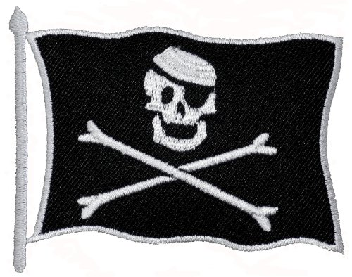 Pirate Skull Flag DIY Applique Embroidered Sew Iron on Patch PR-02 (Pirate Clothing For Sale)