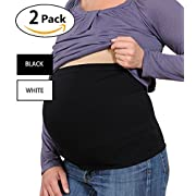 Womens Maternity Belly Band Seamless 2 Pack Everyday Support Bands for Pregnancy White,Black M
