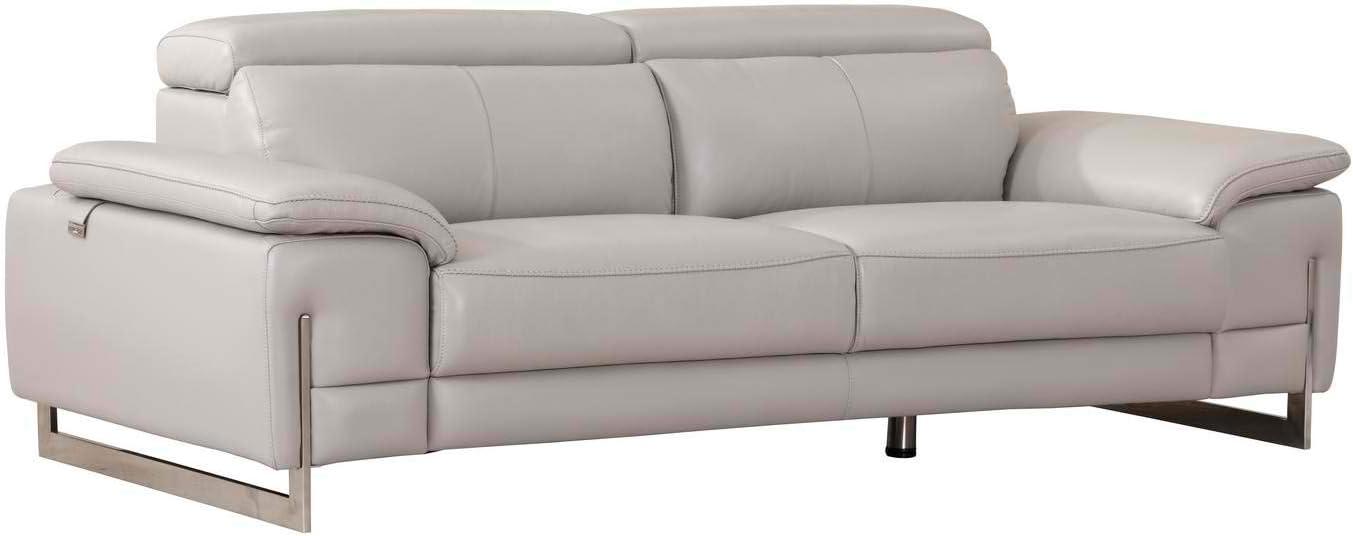 Blackjack Furniture, 636 Ellison Collection Top Grain Italian Leather Living Room Sofa Light Gray