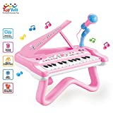 ToyVelt Toy Piano for Toddler Girls - Cute Piano for Kids with Built-in Microphone & Music Modes - Best Birthday Gifts for 2 3 4 5 Year Old Girls - Educational Keyboard Musical Instrument Toys