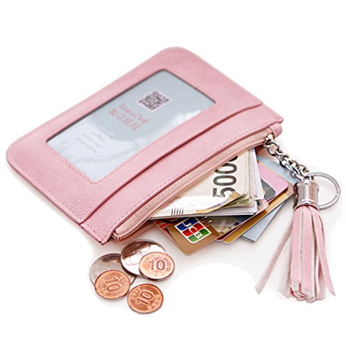 Edmen Leather Slim Credit Card Pocket with Key Ring and ID Window Purse