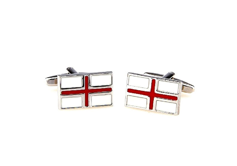 MRCUFF Flag of England Great Britain Pair Cufflinks in a Presentation Gift Box & Polishing Cloth