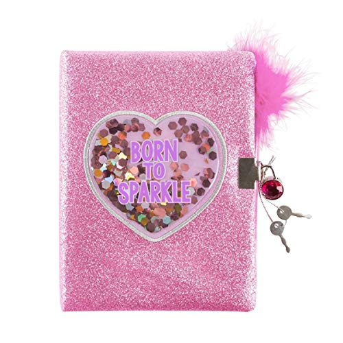 (3C4G Born to Sparkle Glitter Confetti Locking Journal with Feather Pen (36037))