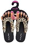 Pretty Pedi Super Lightweight Brand Pedicure Sandals With Toe Separator Feature (Small, Leopard)