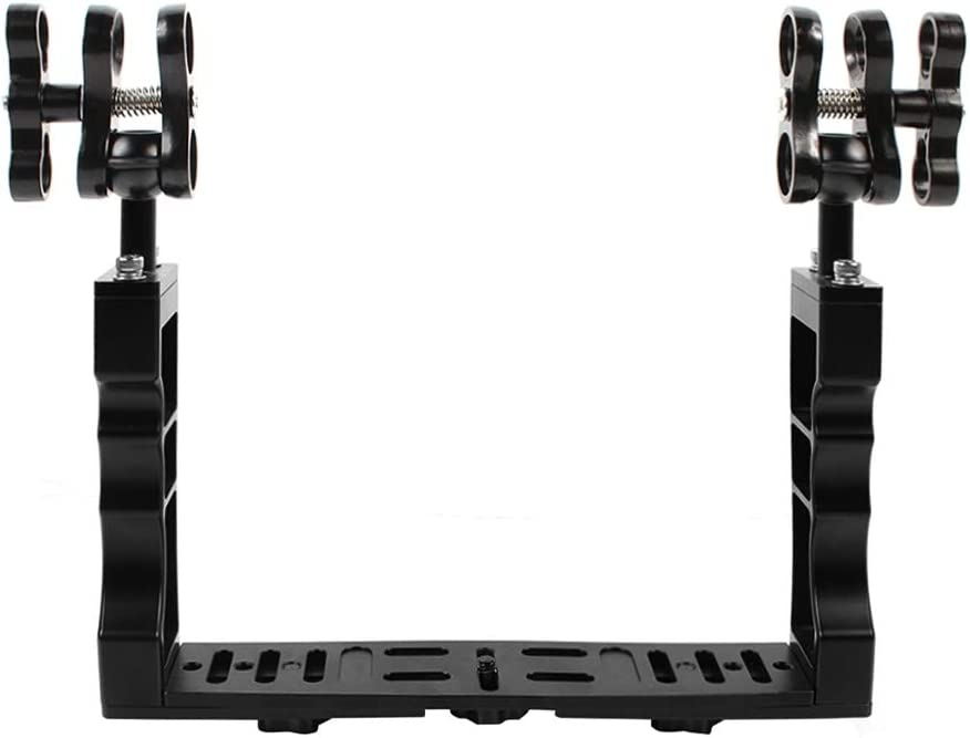 PULUZ Dual Handle Aluminium Alloy Underwater Video Light Stabilizer Tray with Dual Ball Clamp for Underwater Camera Housings
