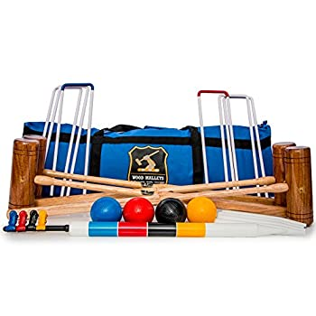 Image of Croquet Wood Mallets Premium Garden Croquet Set, 4-Player in a Bag