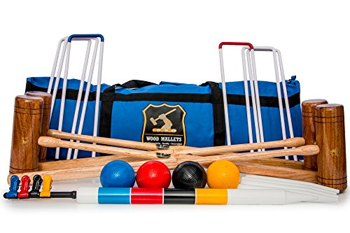 Wood Mallets Premium Garden Croquet Set, 4-Player in a Bag by Wood Mallets