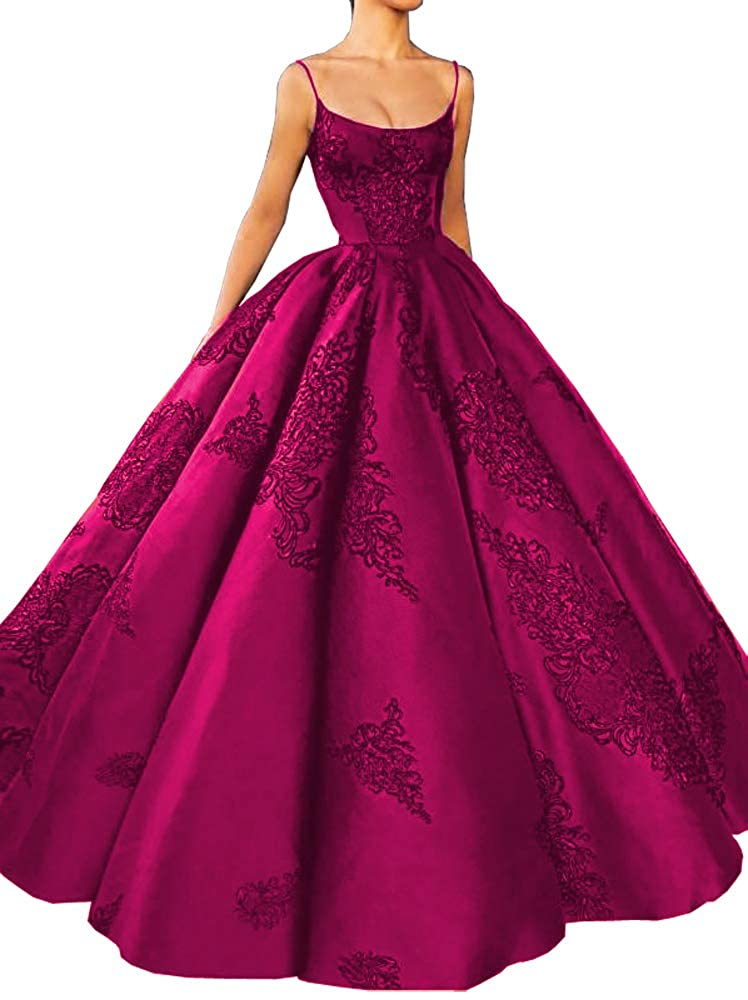 Fuchsia M Bridal Women's Long Embroidery Spaghetti Straps Quinceanera Dresses Ball Gowns