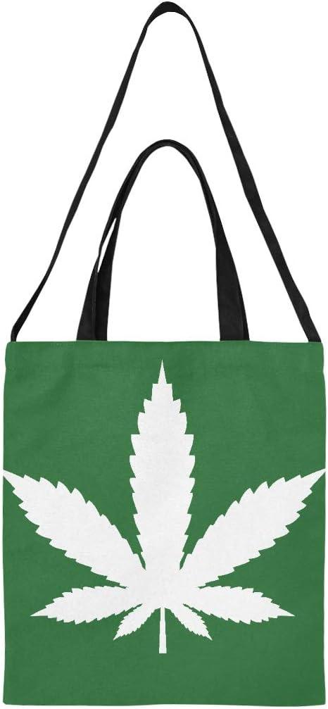Bolsa de regalo de lona Icono de hoja de marihuana Icono de cannabis Vector de diversión Bolsas de supermercado Bolso de compras de gran tamaño Imprimir Gran tamaño Hombro simple Correa de bandolera