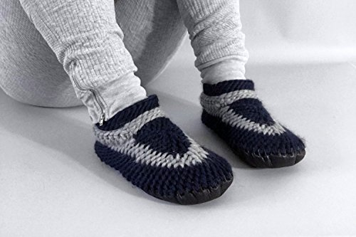 Muffle-Up! Classic Slipper Pacific Nautical - Funky Crocheted Slippers with Leather Soles Most Popular Item Knitted Wool Slippers for Men or Women