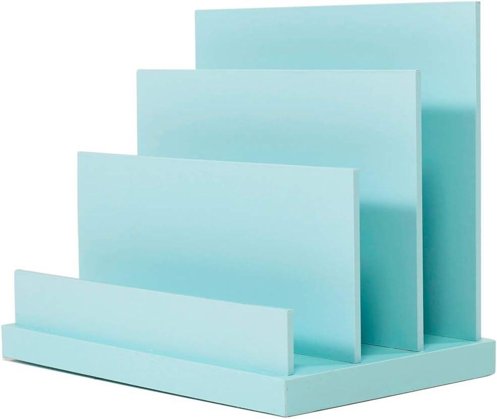 VPACK Colorful File Holder Inclined File Organizer, MDF Wood 3 Section Desktop Organizer Document Sorter Magazine File Holder Organizer (Blue)