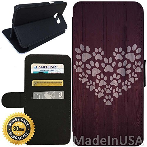 Paw Wallet Prints (Flip Wallet Case for Galaxy S7 (Paw Print Heart Design) with Adjustable Stand and 3 Card Holders | Shock Protection | Lightweight | Includes Stylus Pen by Innosub)