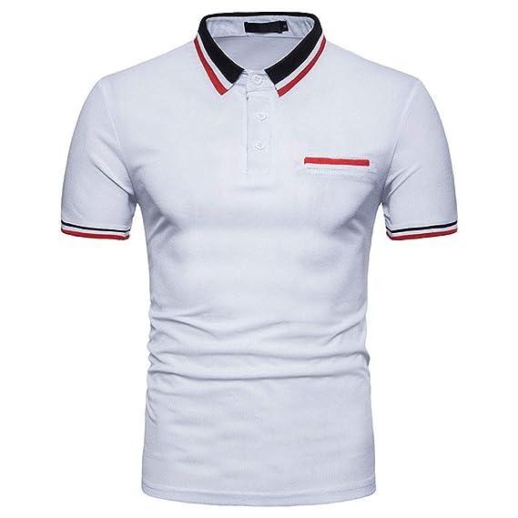 Bestow Camiseta de Cuello Alto de Verano para Hombre Top de Blusa para Hombre Personalidad de Moda para Hombre Top de Blusa Sudadera Chaleco de Manga ...