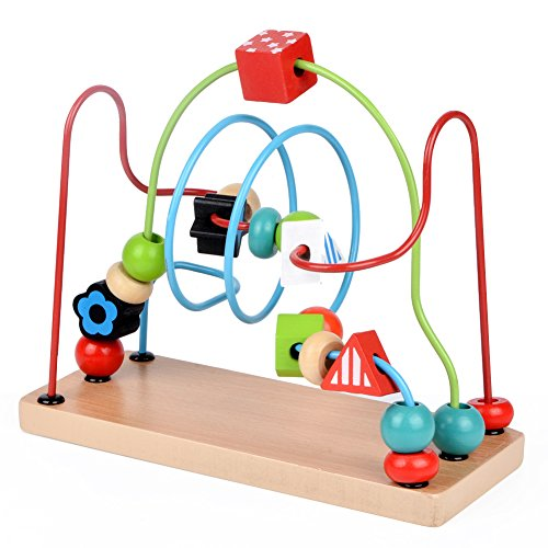 GEDIAO Wooden Classic Beads Maze Toys Colorful Roller Coaster Educational Circle, Preschool Toy for Toddler Kids