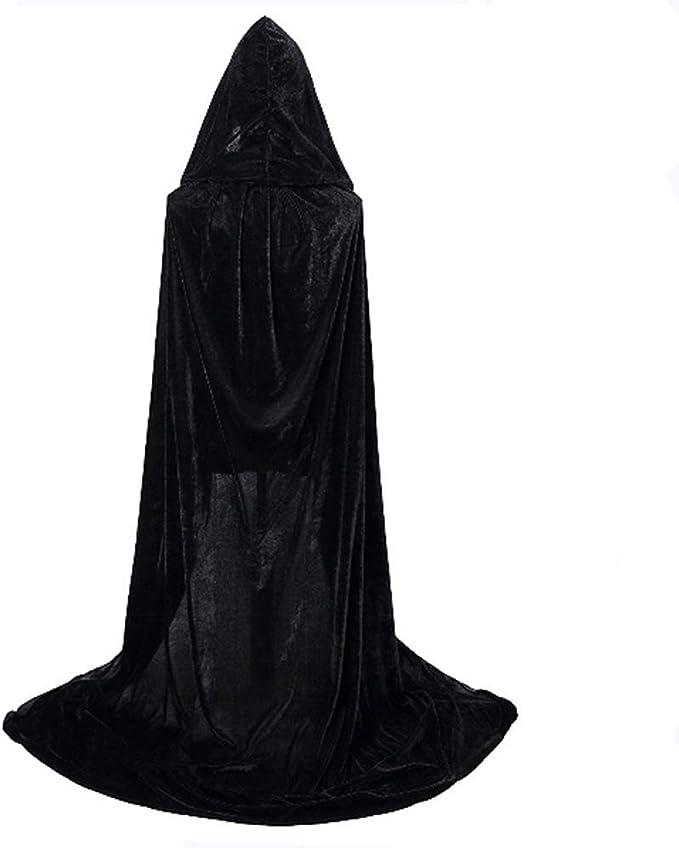 2 Pack Unisex Umhang mit Kapuze f/ür Halloween//Karneval Fasching Kapuzenmantel Kost/üm Cape-schwarz