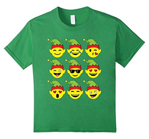 Buddy The Elf Outfit (Kids Santa's Elves Emoji T-Shirt, Fun Christmas Emoji Elf Costume 12 Grass)