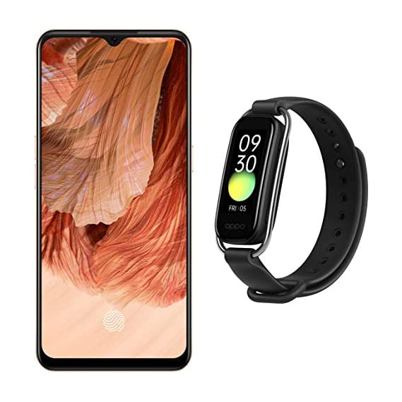 """OPPO F17 (Dynamic Orange, 6GB RAM, 128GB Storage) + OPPO Smart Band Style (Black) - 1.1"""" AMOLED Color Display, SPO2 Monitoring, 5 ATM, 12 Workout Modes"""