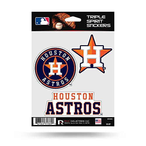 Houston Astros Triple Sticker Multi Decal Spirit Sheet Auto Home Baseball ()