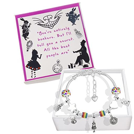 Alice in Wonderland GOLD Plated Necklace in Gift Box Fairy tale Character Storybook Disney Dress Girl