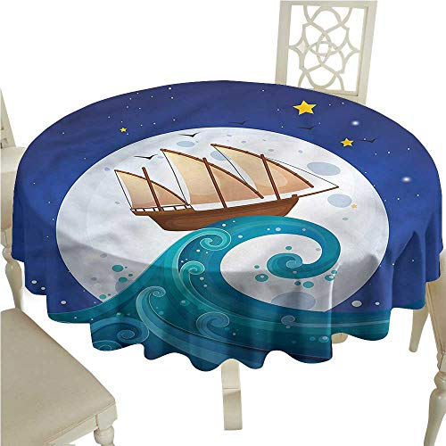 Wave Bistro Table - Thanksgiving Tablecloth Moon,Old Ship Riding Waves,for Bistro Table