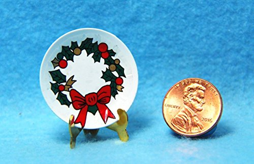 - Dollhouse Miniature Christmas Holly Wreath Plate with Stand Decoration IM - My Mini Fairy Garden Dollhouse Accessories for Outdoor or House Decor