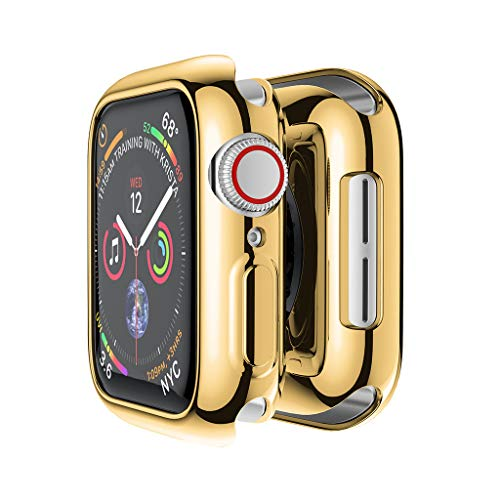 Haluoo for Apple Watch Series 4 40mm Case Protector, Ultra Thin Shock Proof Case Soft Plating TPU Protective Bumper Cover for iWatch Apple Watch Series 4 40mm (Gold)