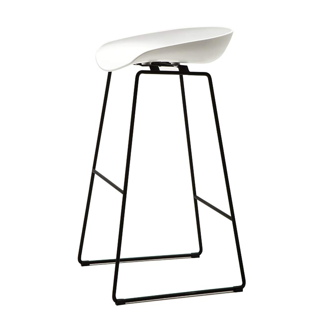White 75CM GY Bar Stool, Simple Bar Chair, PP Plastic Chair and Wrought Iron Scooter Suitable for Home Kitchen Breakfast Counter Leisure, 4 colors, 3 Sizes (color   White, Size   75CM)