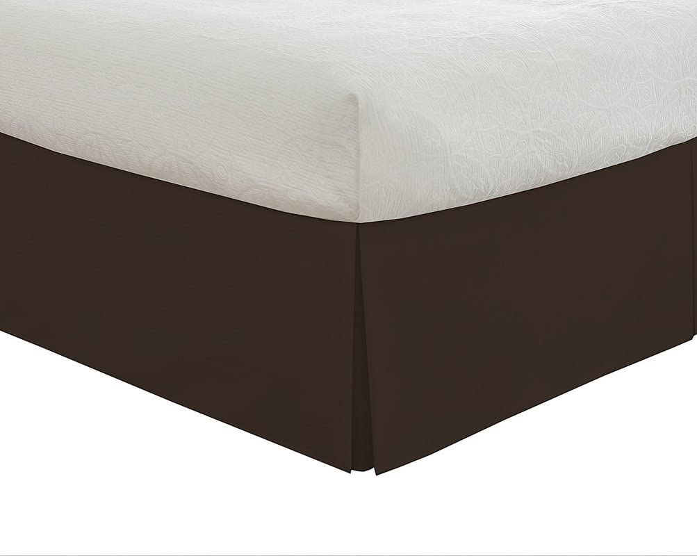 Black Solid} 12 Drop Length Hotel Quality 600TC 1PC Pleated Bed Skirt 100/% Egyptian Cotton 600 Thread Count {Twin