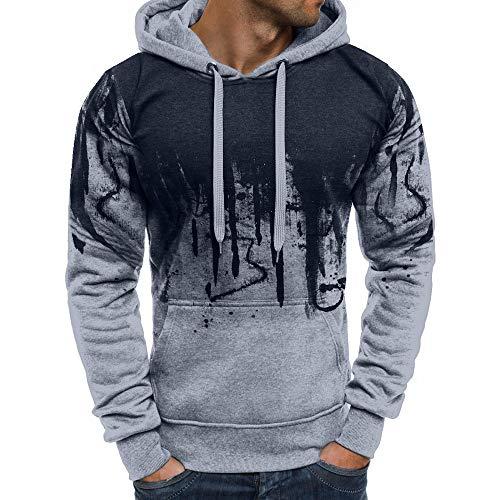 Godathe Men Zipper Gradient Color Pullover Long Sleeve Hooded Sweatshirt Top Blouse Pullover ()