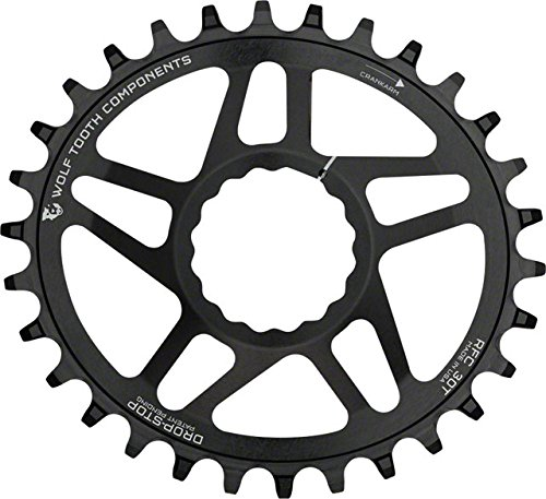 Wolf Tooth Components PowerTrac Direct Mount Drop-Stop 28T Chainring: For Race Face Cinch Cranks, Black Oval Race