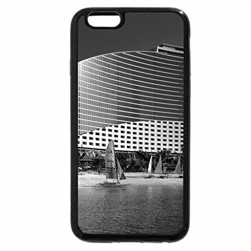 iPhone 6S Case, iPhone 6 Case (Black & White) - hotel and sailboats