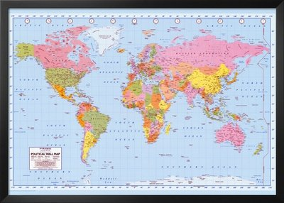 world map political wall poster globe school usa europe