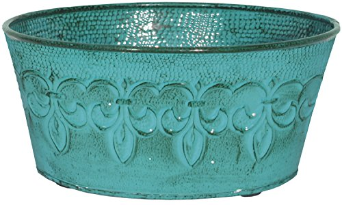 "Robert Allen MPT01893 Fluer De Lis Series Metal Bowl Planter Flower Pot, 8"", Color Surf Blue"
